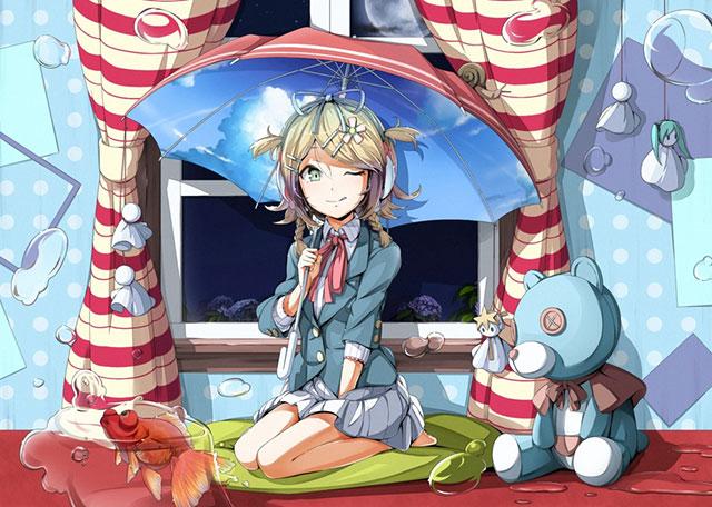 傘やぬいぐるみと制服姿のリンをデザインした可愛いイラスト壁紙画像