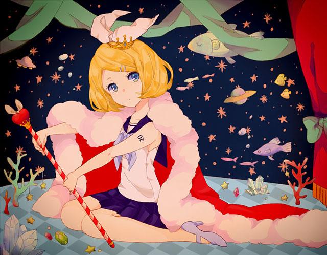 制服風のコスチュームを着た鏡音リンの可愛いイラスト壁紙画像