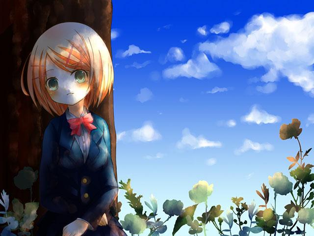 木にもたれかかったブレザーを着たリンの可愛いイラスト壁紙画像