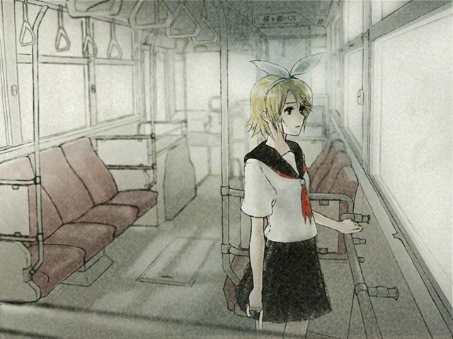 バスの中のセーラー服を着た鏡音リンの可愛いイラスト壁紙画像