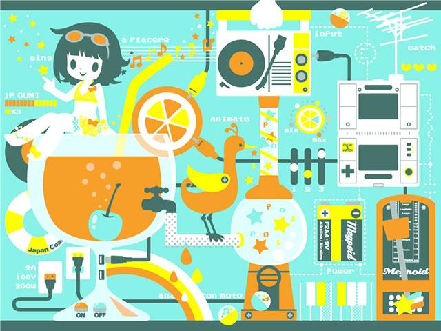 ドリンクやラジカセとデフォルメ系グミの可愛いイラスト壁紙画像