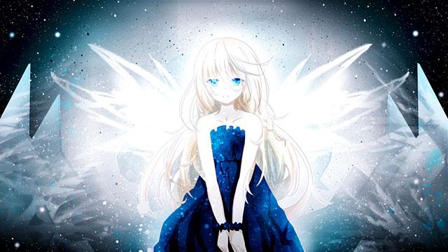 光の羽と青いドレスのイアの天使なイラスト壁紙画像