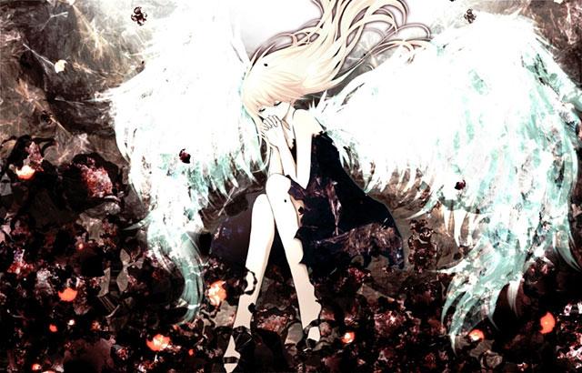 白い羽根の生えた黒いドレスを着たIAの綺麗なイラスト壁紙画像