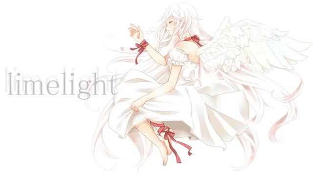白いドレスを着て寝そべる羽根の生えたIAの綺麗なイラスト壁紙画像