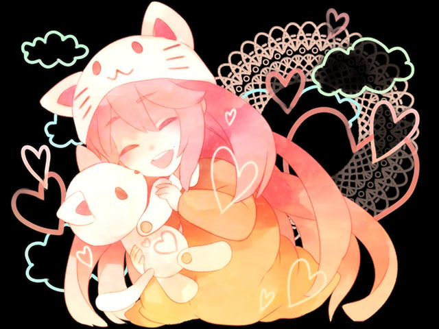 ぬいぐるみを抱く笑顔のトエトルカを描いた可愛いイラスト壁紙画像