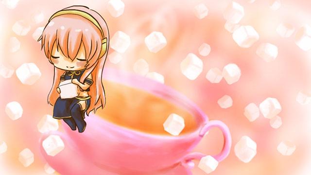 角砂糖を持ってコーヒーカップに座ったチビキャラなルカのイラスト壁紙画像