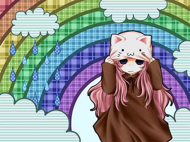 虹と巡音ルカをデザインした可愛いボカロイラスト壁紙画像