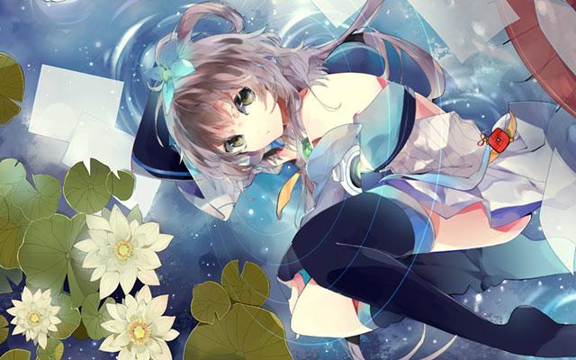 水に浮かんだ睡蓮の花とルオの綺麗なイラスト壁紙画像