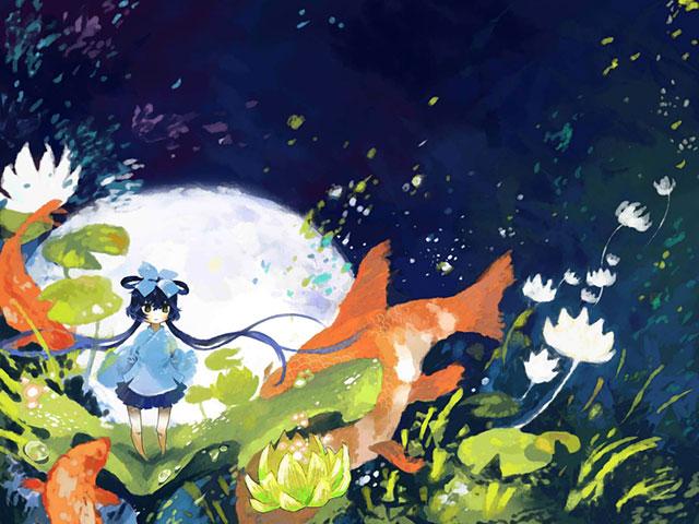 ちびキャラ風のLUOと鯉と睡蓮の花の可愛いボカロイラスト壁紙画像