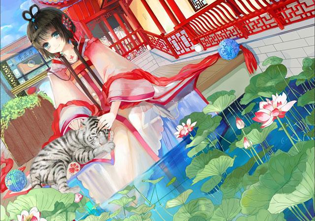 ホワイトタイガーとルオと睡蓮の可愛いイラスト壁紙画像