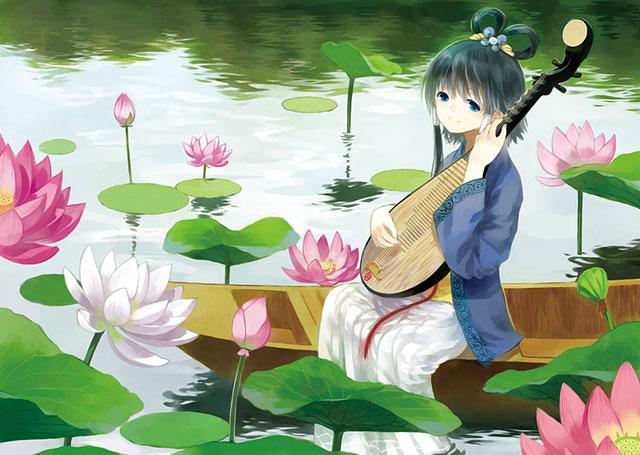 琵琶を持ったルオと睡蓮の花の綺麗なボカロイラスト壁紙画像