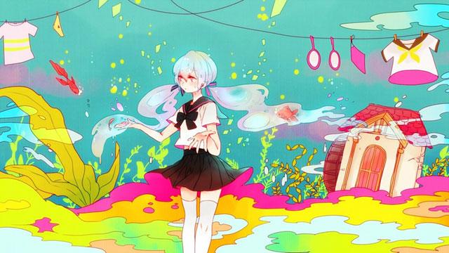 海とセーラー服の初音ミクのカラフルで可愛いイラスト壁紙画像