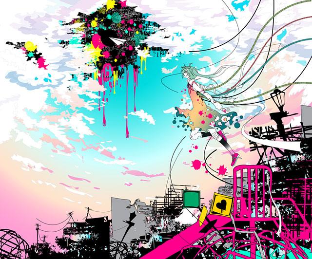 公園の滑り台と空を飛ぶミクのカラフルで可愛いイラスト壁紙画像