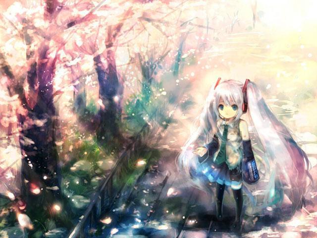 桜並木を歩く初音ミクのカラフルで可愛いイラスト壁紙画像