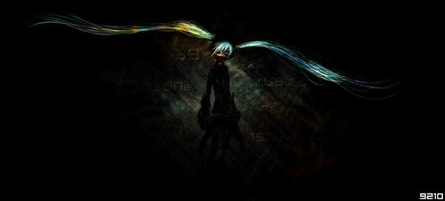 暗闇の中の初音ミクを黒背景にデザインしたかっこいいイラスト壁紙