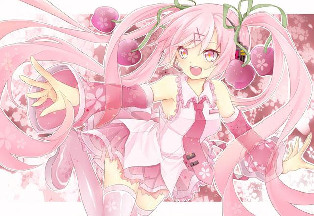 桜背景と元気なサクラミクの可愛いボカロイラスト壁紙画像