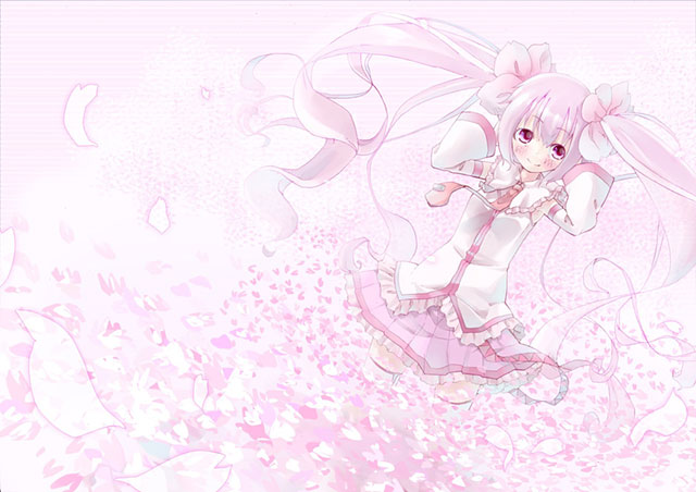 桜の花びらの包まれたサクラミクの可愛いイラスト壁紙画像