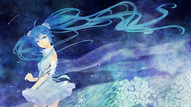 お花畑の初音ミクを水彩画塗りで描いた可愛いイラスト壁紙画像