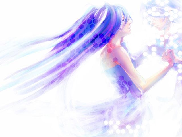 ドレス姿の初音ミクを水彩画塗りで描いた可愛いイラスト壁紙画像