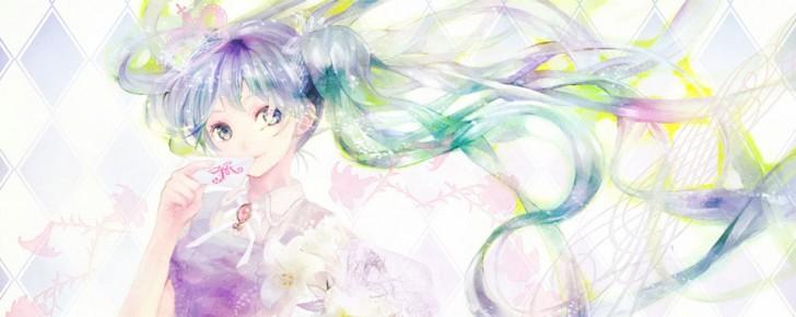 【初音ミク】水彩画塗りの可愛いイラスト壁紙【ボカロ画像】