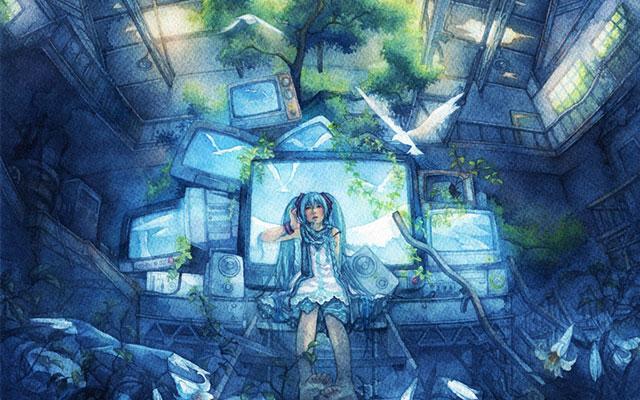 テレビと木と初音ミクを水彩塗りタッチで描いた綺麗なイラスト壁紙画像