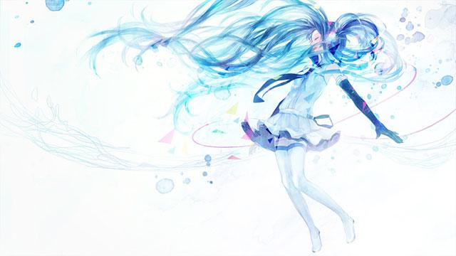 髪をたなびかせて踊る初音ミクの綺麗なボカロイラスト壁紙画像