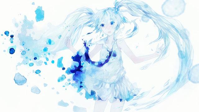 水彩塗料で滲んだような初音ミクの綺麗なイラスト壁紙画像