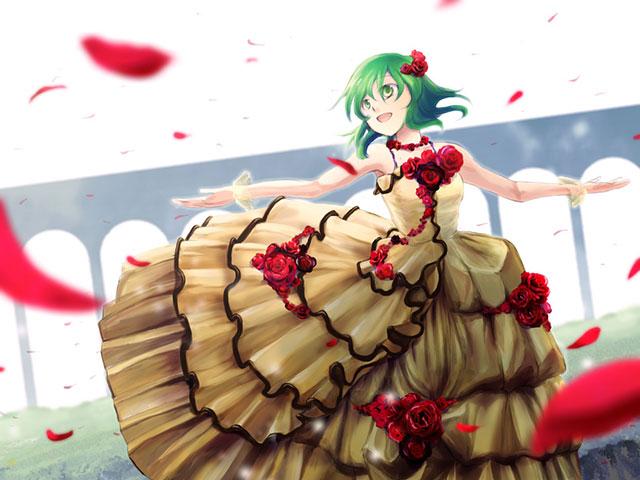 花のドレスで楽しそうに踊るグミの可愛いイラスト壁紙画像