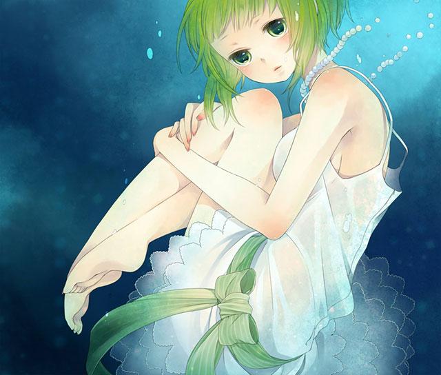 水の中のドレスを着たGUMIの綺麗なボカロイラスト壁紙画像