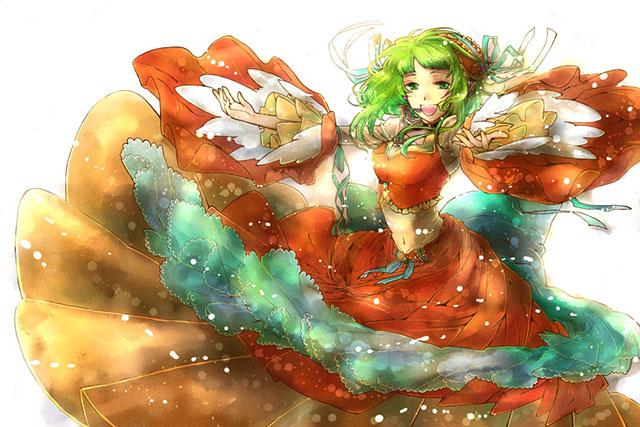ふわふわのドレスで楽しそうに歌うGUMIの綺麗なイラスト壁紙画像