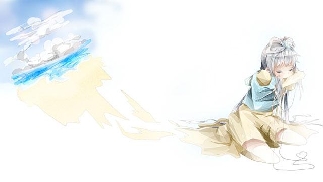 LUOと空と海の風景を描いた可愛いボカロイラスト壁紙画像