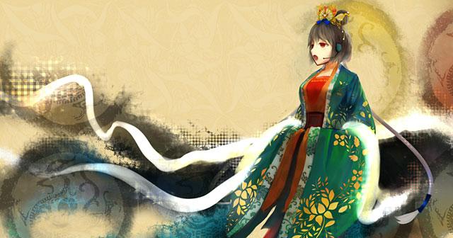 中華衣装を着たLUOの高画質なボカロイラスト壁紙画像