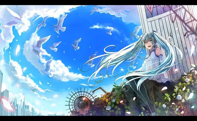 白い鳥達と青空とミクの爽やかなイラスト壁紙画像