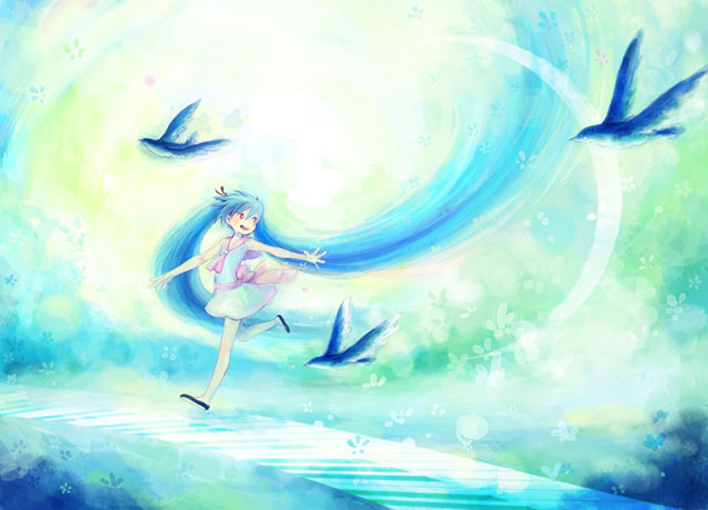 楽しそうに青い鳥と走るミクの可愛いボカロイラスト壁紙画像