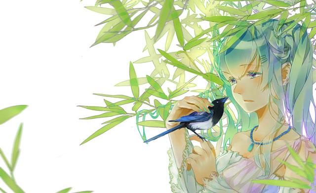 青い鳥をなでる初音ミクの可愛いボカロイラスト壁紙画像