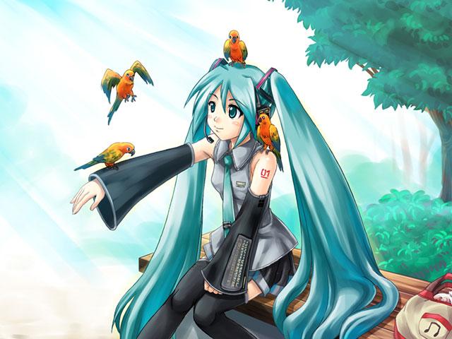 ミクにとまる綺麗な鳥達の可愛いイラスト壁紙画像