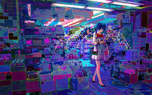 買い物をする初音ミクのカラフルで緻密なイラスト壁紙画像