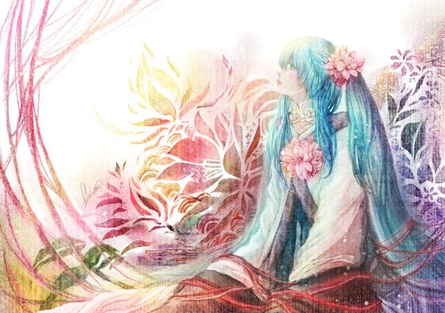 着物姿の初音ミクを繊細な色使いで描いたボカロイラスト壁紙画像