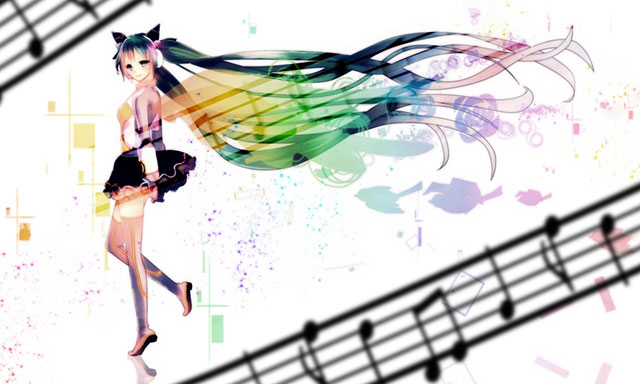 カラフルな音符と初音ミクの可愛いボカロイラスト壁紙画像