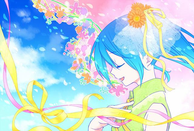 花とリボンの髪飾りをした初音ミクの可愛いボカロイラスト壁紙画像