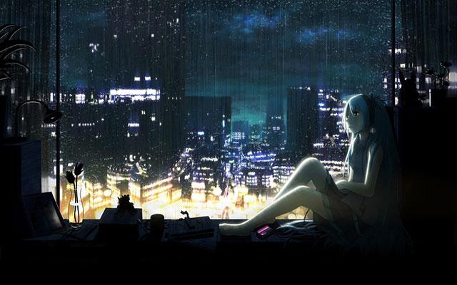 窓際で外を眺める初音ミクを描いた梅雨のイラスト壁紙画像