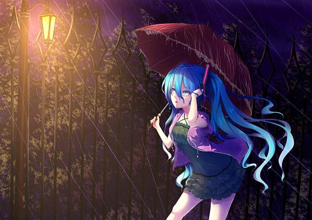 雨の降る夜道を歩く初音ミクの梅雨イラスト壁紙画像