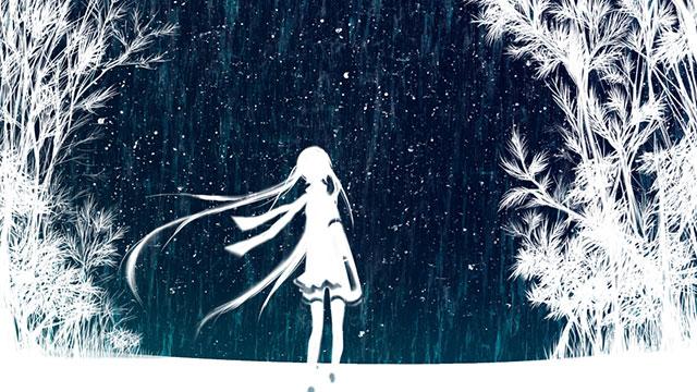 雨の中の初音ミクをシルエットで描いたボカロイラスト壁紙画像