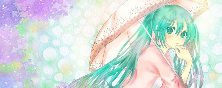【初音ミク】梅雨と傘とミクの可愛いイラスト壁紙【ボカロ画像】