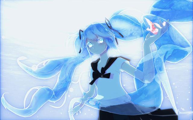 透明感のあるブルーが綺麗なボトルミクのイラスト壁紙画像
