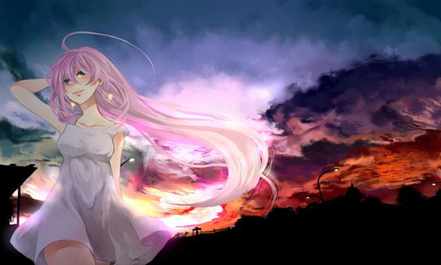 夕焼けの空と白いワンピースの巡音ルカの綺麗なボカロイラスト壁紙画像
