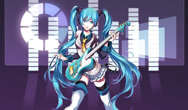 長い髪を揺らしながらギターを弾く初音ミクの可愛いイラスト壁紙画像