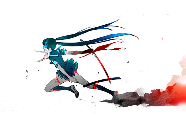 刀で斬りながら走り抜ける制服姿のミクのかっこいいイラスト壁紙画像