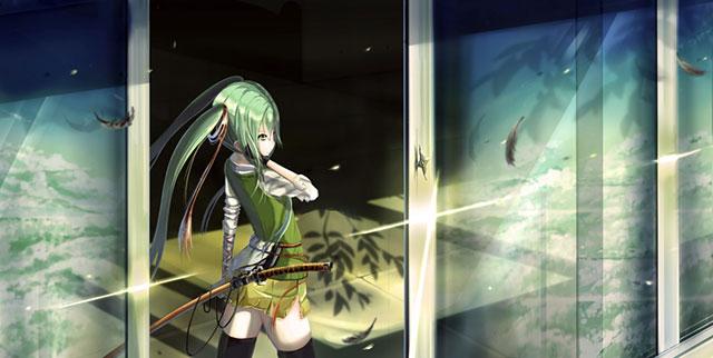 窓際に立った刀を持った初音ミクの可愛いイラスト壁紙画像
