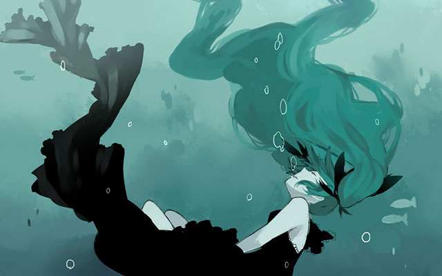 口から泡を出して海に沈んでいく初音ミクの綺麗なイラスト壁紙画像